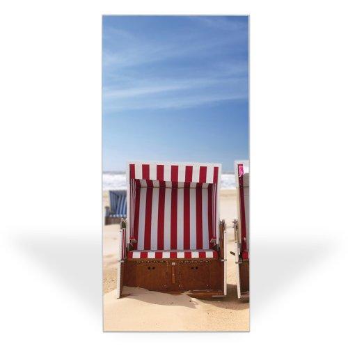 Banjado Wechselscheibe für IKEA GYLLEN Wandlampe | Glasscheibe für Wandleuchte 56x26cm | Echtglas Motiv Strandkörbe | Hochformat