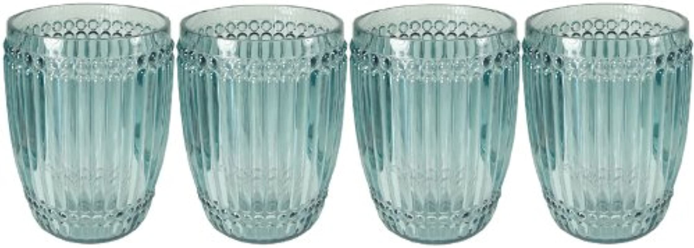 Le Cadeaux Milano Teal 4 Piece Shatter Proof Tumbler Glass Set