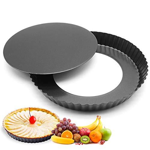 O-Kinee Tarteform, Köstlichen Obstkuchenform 22 cm, Quicheform aus Stahl mit Antihaftbeschichtung, Backform mit Hebeboden, Wellenrand, Schnittfest, Rund, Blech