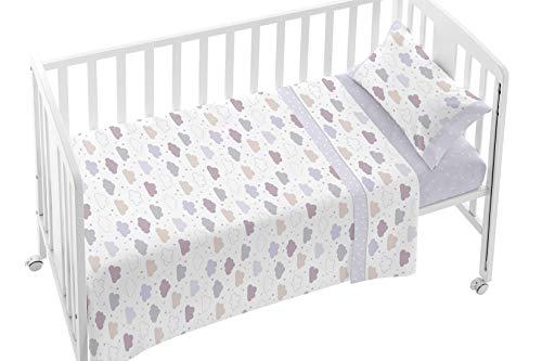 Burrito Blanco Juego de Sábanas de Bebé 008 con Estampado de Nubes para Mini Cuna de 50x80cm/Juego de Sábanas para Minicuna, Gris, Beige y Granate