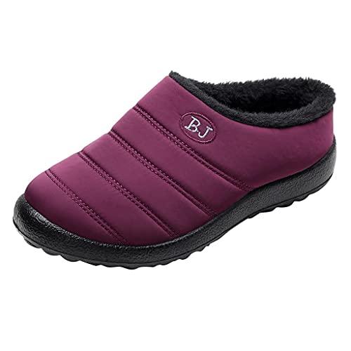 KLGR Zapatillas de estar por casa impermeables para mujer, planas, de felpa, suela suave, cálidas, forradas, para invierno, para interiores y exteriores