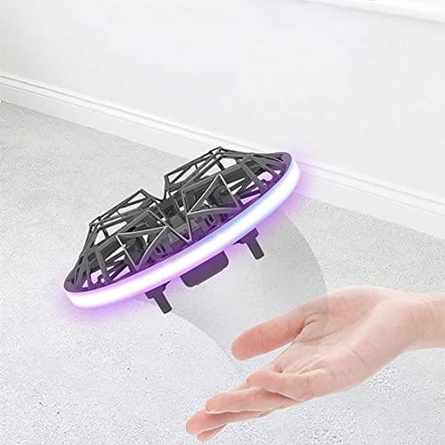 Drone operado a mano para niños adultos - Mini drones suspendidos manos libres, platillo volador de cuatro ejes con detección de gestos en interiores fácil, juguetes para niños y niñas regalo (negro)