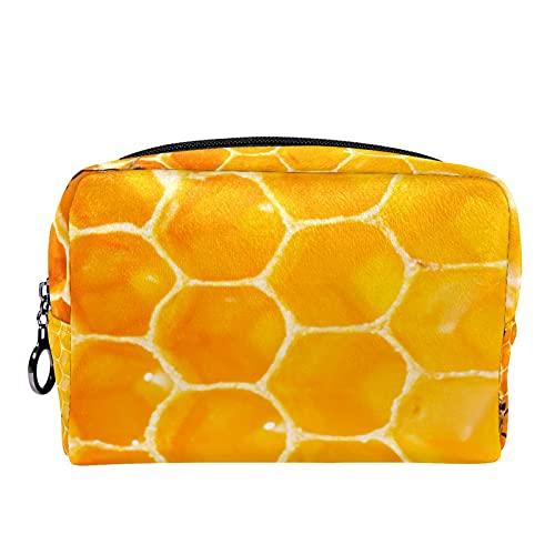 Bolsa de Maquillaje Bolsas de cosméticos de Viaje portátiles, Abejas Amarillas en Panal de Miel