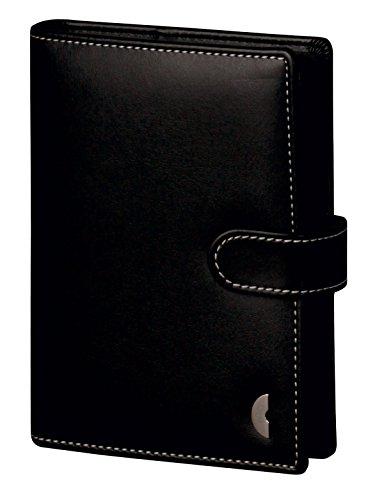 Chronoplan 50110 nachfüllbarer Terminplaner / Organizer / Terminkalender Mappe aus Kunstleder (Format Mini (110x145x20 mm) mit Lasche, Ringbuch mit Kalender 2020) schwarz
