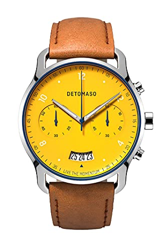 DETOMASO SORPASSO Chronograph Limited Edition Giallo Gelb Herren-Armbanduhr Analog Quarz Leder Armband Braun