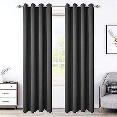 LORDTEX Blackout Curtains for Bedroom, Thermal Insulated Blackout Drapes with Grommet Top, Room Divider - Noise Reducing and Light Blocking Window Treatment Panels (Dark Grey, 52 x 72 inch)