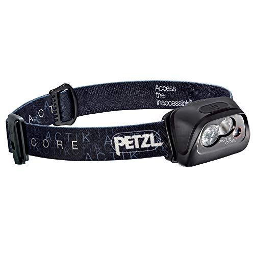PETZL - ACTIK CORE Headlamp, 350 Lumens, Rechargeable, with CORE Battery, Black