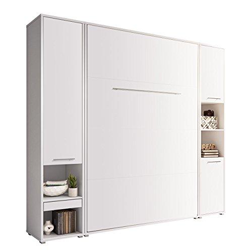 Mirjan24 Concept Pro I Vertical - Juego de cama plegable y 2 estantes, cama de pared con somier, armario, cama plegable, cama funcional