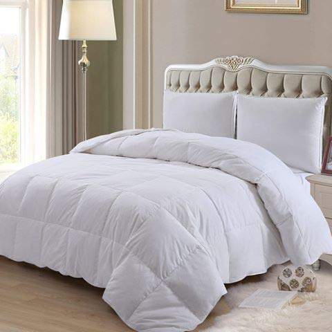 ELNIDO QUEEN Down Comforter Goose Duck Down and Feather Filling - 100% Cotton Cover - Warmth All Season Duvet Insert - Machine Washable Stand Alone Bed Comforter with Tabs Queen/Full 90×90 Inch