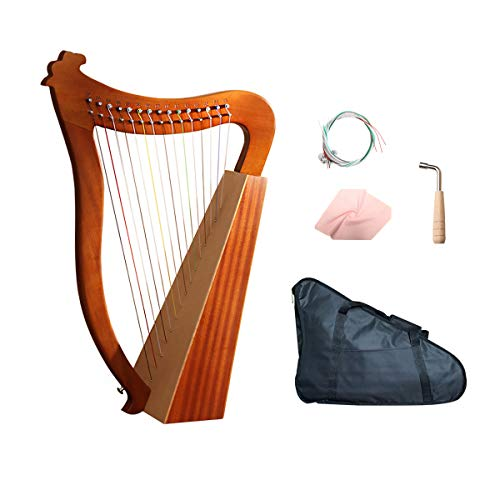 Celtic Irish Harp 15 Strings with Tuning Wrench and Carry Bag-Mahogany…