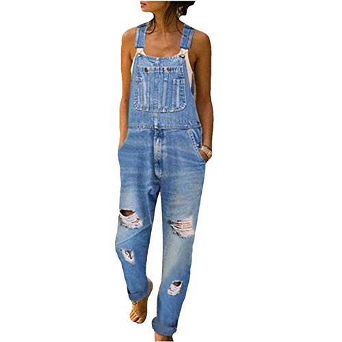 Yiyu Damen Denim Jeans Latzhose Langer Overall Blumen Jeansoptik Klasse Vintage Jeans Lang Lässig Baggy Boyfriend Stylisch Jumpsuit Hüftjeans x (Color : Blue, Size : XL)