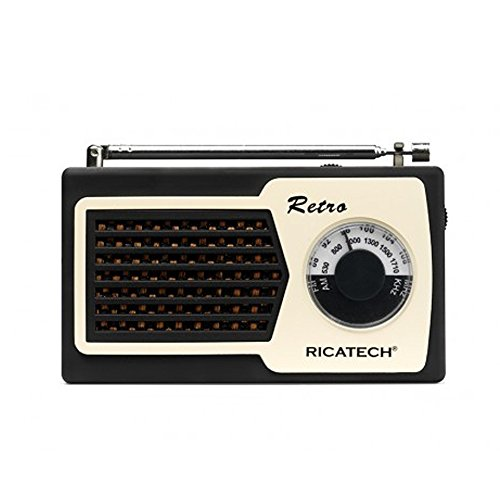 Ricatech PR22 – Nostalgic, Retro, Vintage Radio, Analog AM/FM Radio Channels, Lightweight, Small, Portable, 1 Watt Speaker, Battery Operated, 3.5mm Headphone Jack, Color Black
