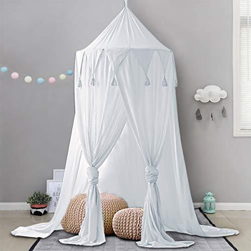 Minetom Betthimmel für Kinder Baby Baldachin Spielzimmer Fotografieren rund Höhe 240cm Prinzessin Chiffon hängende Moskitonnetz für Schlafzimmer Dekoration für Bett und Schlafzimmer (Weiß)