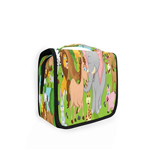 Kulturtasche zum Aufhängen, Tiermotiv, Elefant, Giraffe, Kulturbeutel, Kosmetiktasche, Reisetasche mit 4 Fächern für Frauen