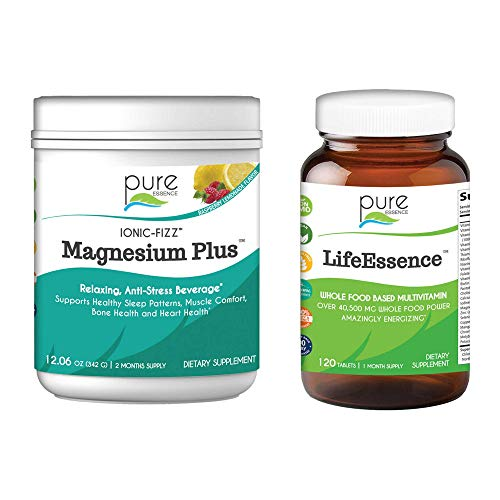 Pure Essence Labs Ionic Fizz Magnesium Plus + LifeEssence Multivitamin for Women and Men Bundle | Sleep Aid / Natural Anti-Stress Powder - Raspberry Lemonade | Herbal Supplement | Two Month Supply