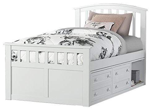 Hillsdale Furniture Hillsdale Charlie Captains Bed With One Storage Unit, Twin, White
