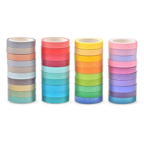 HvxMot Cintas Washi Tape, 40 Rollos Washi Masking Tape Set, Fácil de Quitar, Se Puede Rasgar con Las Manos, para Bricolaje, Decoración, Regalo, Diario, Envoltura, Calendarios (0,75cm x 4m, 40 Colores)