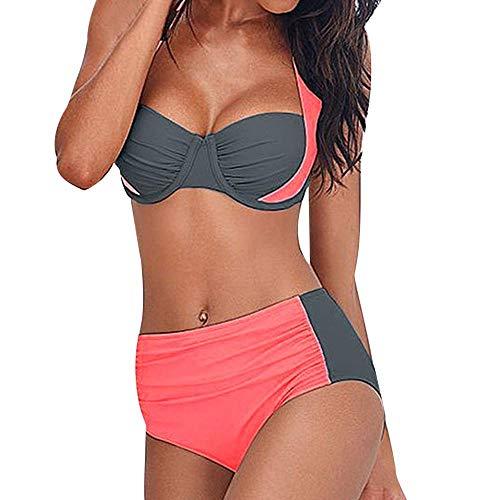 YEBIRAL Bikini Set Damen 2 PC Badeau Badeanzug Strandmode Schwimwear Neckholder Push Up Strand Bikini mit Shorts(XL,Rosa)