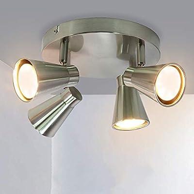Garwarm Modern 4-Light Multi-Directional Ceiling Light Fixture, Adjustable Round Track Lighting Flush Mount Ceiling Spotlight Including 4x5W GU10 LED Light Bulbs,3000K,Chrome