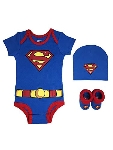 DC Comics Baby Boys, Wonder Woman, Flash, Batman 3-pc Set in Gift Box, Superman Blue, 0-6