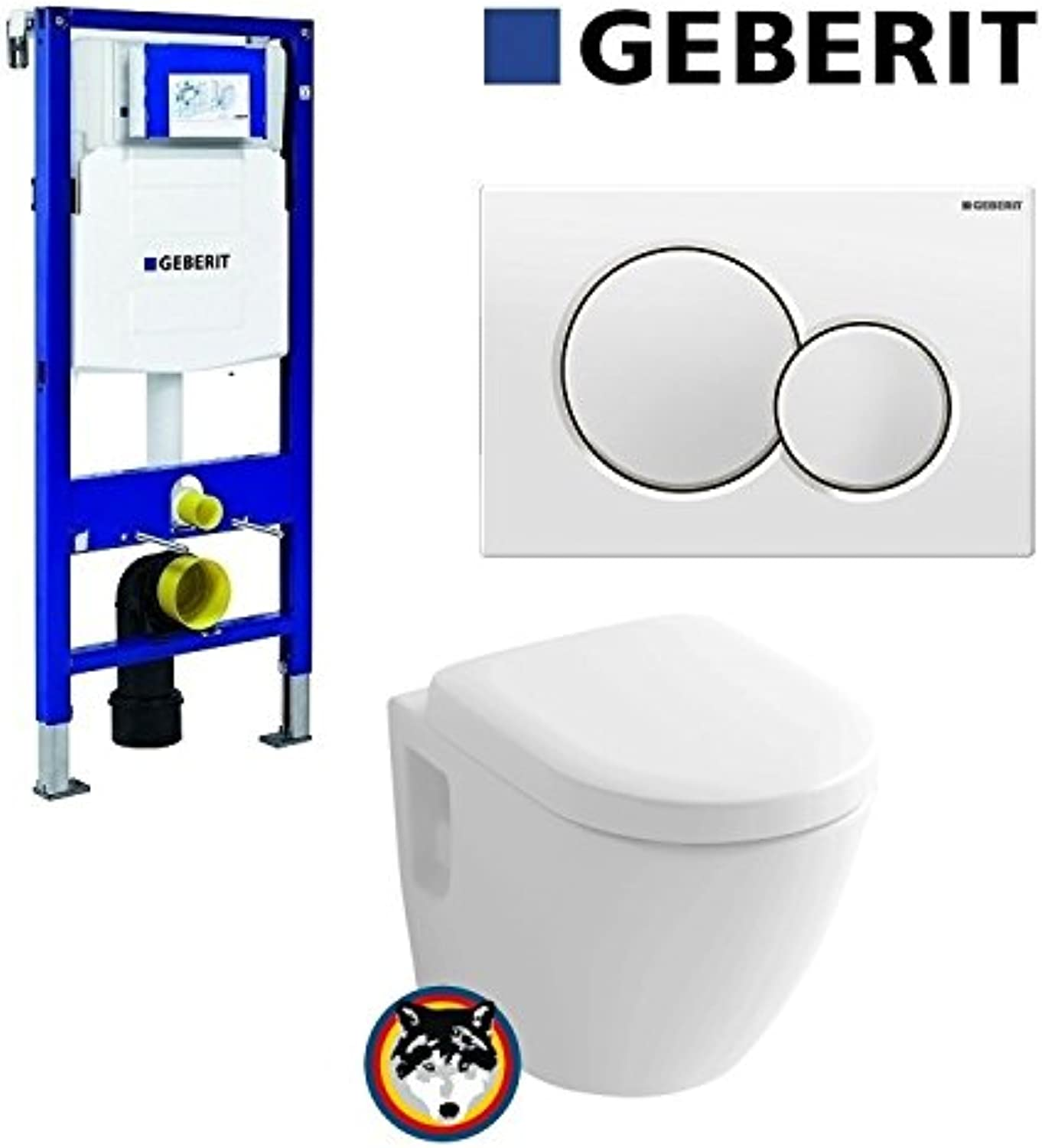 Geberit Duofix UP 320 Vorwandelement mit Sigma01, Toto CW762Y Wand WC TORNADO FLUSH, WC Sitz Softclose