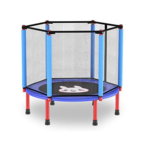 M-YN Trampoline Indor Outdoor with Net Safety Enclosure Springs Gymnastics Equipment for Home Exercise Fitness for Kids Toddler Play Games 40in (Color : Blue)