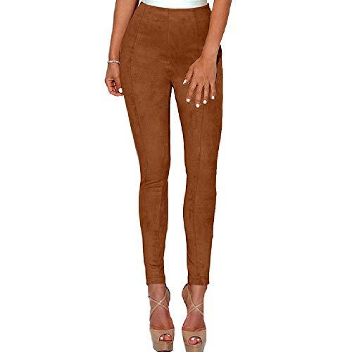 nobrand Wildleder Damen Damen Hosen Hohe Taille Große Elastische Schlanke Retro Leder Wildlederhosen Für Damen