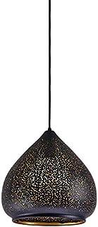 Classic Oriental E27 Pendant Lamp Vintage Lantern Design Hanging Light Outdoor Black/Indoor Gold Metal Screen Height Adjustable Suspension Lamps Ceiling Lighting,Φ29*29Cm
