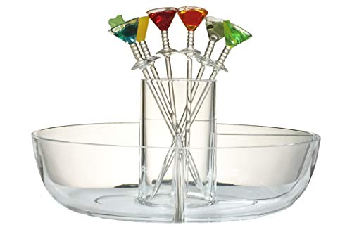 PRODYNE Happy Hour Garnish Server with Colorful Acrylic Martini Picks (Set of 6) MM-7-C