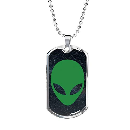 Express Your Love Gifts Alien OVNI - Collar de acero inoxidable o oro de 18 quilates con cadena de 61 cm