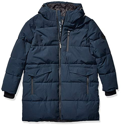 Alpine North Mens Vegan Down Winter Puffer Coat, Navy, S
