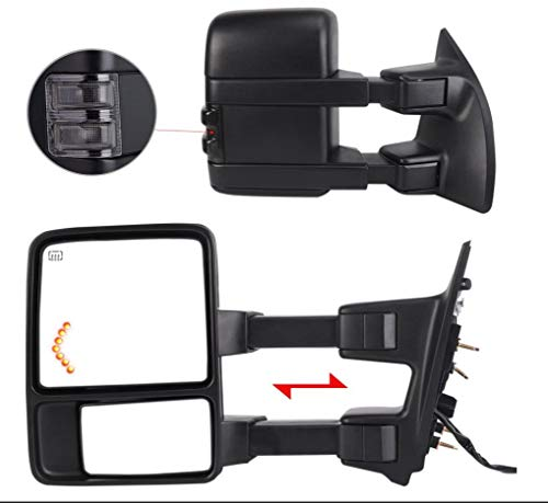 Perfit Zone TOWING MIRROR PAIR SET Replacement For 1999-2007 F250/F350/F450/F550 Super Duty, 01-05 Excursion Extendable Smoke Power Heated with Signal Light Side Mirrors