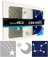 GROW WILD Crib Sheets for Boys or Girls   3 Pack Soft Jersey Cotton Fitted Crib Sheets Neutral   Grey White Navy Blue Baby Crib Sheets for Girl, Crib Mattress Sheet or Toddler Bed Sheets