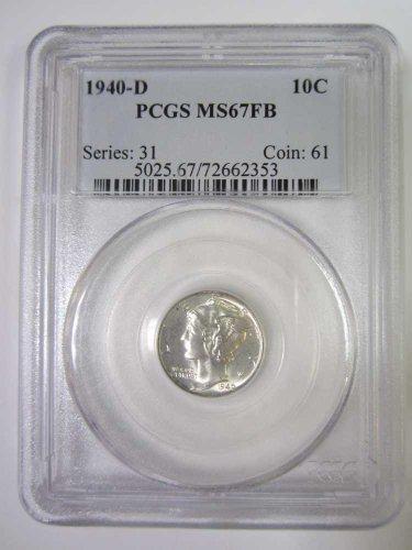 Brilliant Unc. 1940-D Mercury Dime — PCGS MS/67 FSB