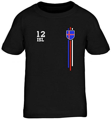 Iceland Soccer World Cup Fussball WM Fanfest Gruppen Kinder T-Shirt Rundhals Mädchen Jungen Streifen Trikot Island, Größe: 152/164,schwarz