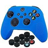 YoRHa Silicona Funda Piel Carcasas Cubierta para Xbox Series X/S Mando x 1 (Azul) con Agarres para el Pulgar x 10