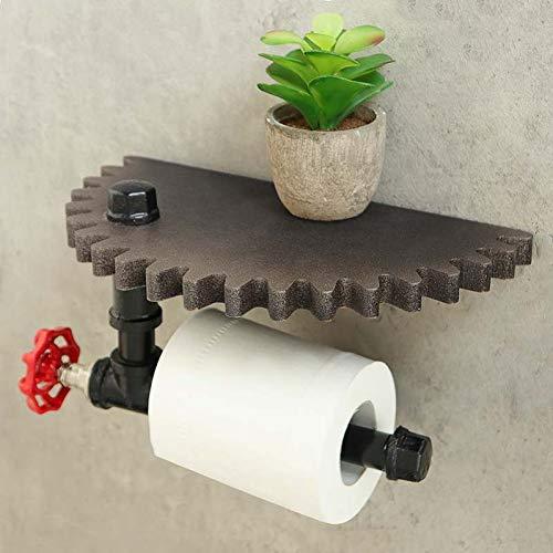 LANKOULI Tissue Box Retro Industrial Style Badezimmer Toilettenpapierhalter Roller Holz Zahnrad Wandregal Papierhalter Wandhalterung Metall Wc Papierregal