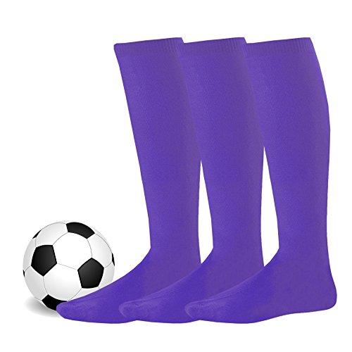Soxnet Soccer Sports Team 3-pair Cushion Socks-Purple, Junior (7-9)