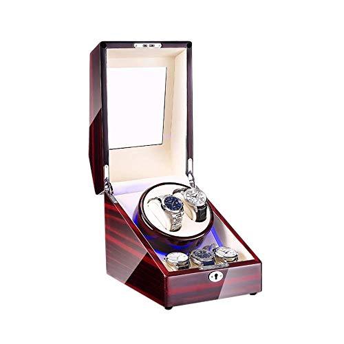 DFBGL Remontoir de montre automatique Box 2 + 3, Avec lumière LED, peinture extérieure en Bois pour Piano, 4 Modes de Rotation, Remontoir de montre à moteurs silencieux
