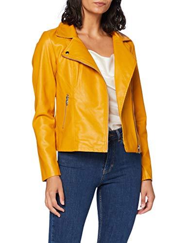 ONLY Damen ONLMELISA Faux Leather Biker CC OTW Jacke, Golden Yellow, 34