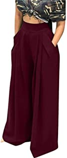 HuiSiFang Women's Casual Pleated Long Pants Solid High Waisted Wide Leg Palazzo Long Pants with Pockets Plus Size