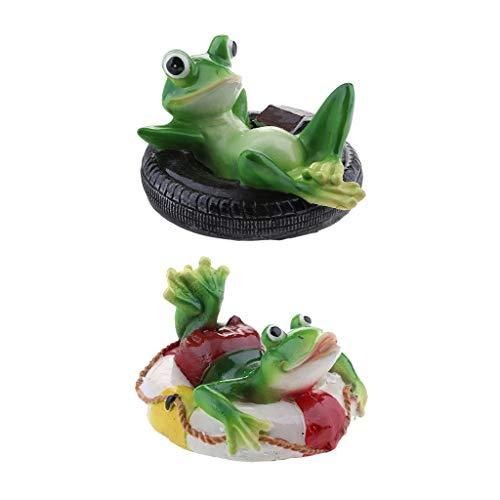 FLAMEER 2 Stück Frosch Schwimmfigur Teichdeko der Hingucker, ideal für Teich Fishpod Deko