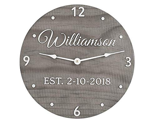 11 Inch Handmade Wood Clock Personalized with Last Name and Wedding Anniversary Date