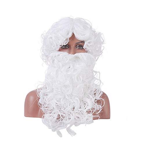 Nueva llegada Barba blanca y peluca Navidad Santa Claus Cosplay Pelo sintético Peruca Cosplay Peluca, 2