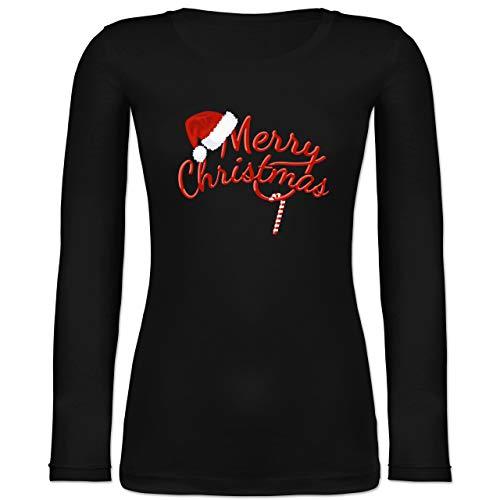 Weihnachten & Silvester - Merry Christmas Zuckerstange - XL - Schwarz - Weihnachten Langarmshirt - BCTW071 - Langarmshirt Damen