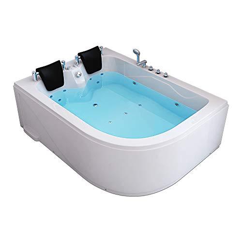 Home Deluxe - Whirlpool Badewanne - Blue Ocean XL weiß Rechts mit Massage für 2 Personen - Maße: 180 x 120 x 65 cm | Eckwanne, 2 Personen, Indoor Jacuzzi