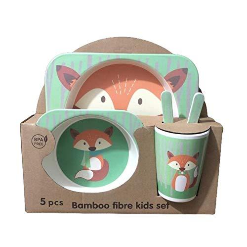 ZHIXIANG 5-teiliges Kinder-Geschirr-Set aus Bambus, Cartoon-Design, inklusive Schüsseln, Löffel und Kindertassen, umweltfreundlich, recycelbar, aus natürlichem Material