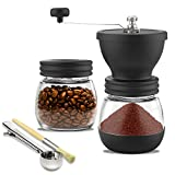 Meg & Mello Manual Burr Coffee Grinder with Ceramic Conical Burr Mill. Infinitely Adjustable Grind, Two Glass Jars, Cleaning Brush, Coffee Tea Spoon Bag Clip. Perfect for Home Travel or Camping