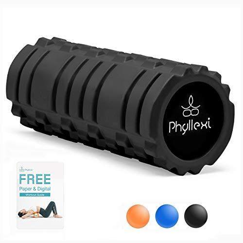 PHYLLEXI Foam Roller Duro Massaggio Schiena - Roller per Tessutto Profondo Massaggio Muscolare e Rilascio del Punto Trigger Miofasciale