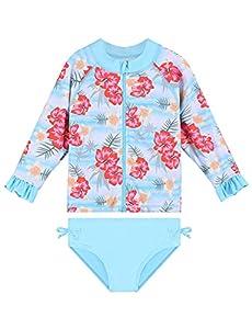 HUAANIUE - Bañador de dos piezas, manga larga con cremallera anti UV, para bebé de 6 meses a 6 años S309-azul claro 3-4 años